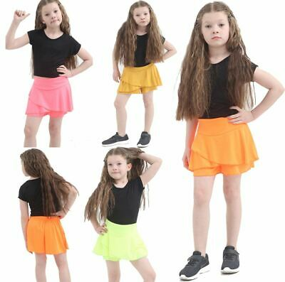 Girls Neon RARA Mini Skirt Children 80s Fancy Dance Club Fancy Frill Short Skirt
