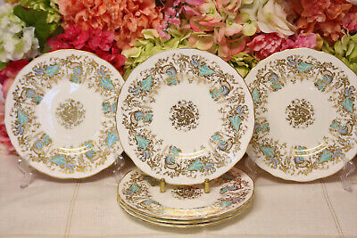"Royal Cauldon, ""Gainsborough"" Bone China Dessert Plates (6) Turquoise/Gilt"