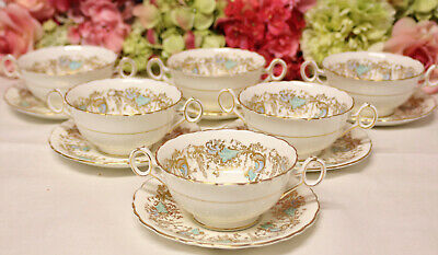 "Royal Cauldon, ""Gainsborough"" Bone China Cream Soup Bowls (6) Turquoise/Gilt"