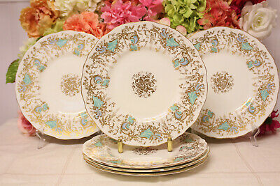 "Royal Cauldon, ""Gainsborough"" Bone China Dinner Plates (6) Turquoise/Gilt"