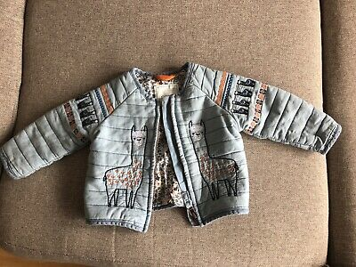 Next Girls Llama Padded Jacket - 6-9 Months - Worn Once Immaculate