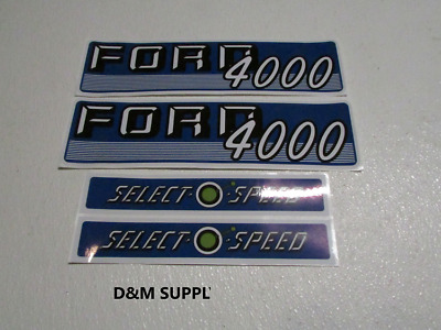 Ford 4000 tractor hood decal set selecto speed 1115-1590