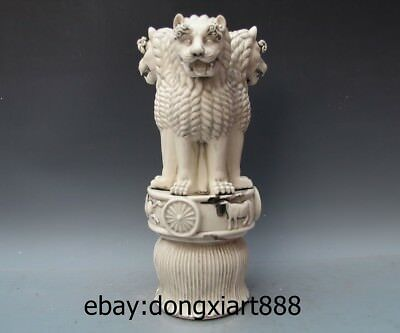 "18"" Chinese Dehua White Porcelain Three sides Foo Dog Lion Ox Animal Sculpture"