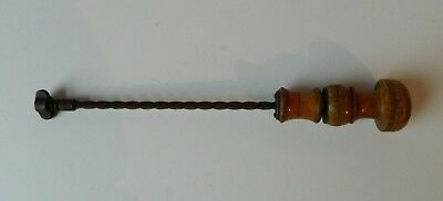 Antique Drill Tool Carved Wooden Handle Iron Screw