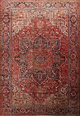 ANTIQUE PALACE VEGETABLE DYE Heriz Persian Hand-Knotted 12'x16' BIG Wool Rug