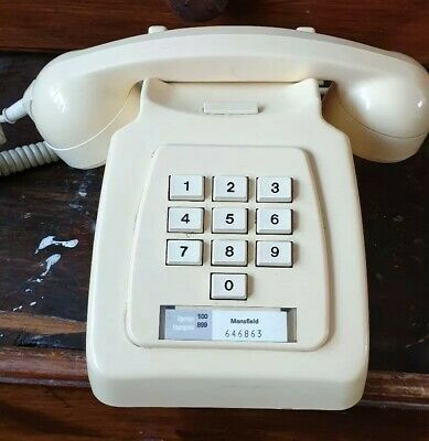 Vintage retro- Push Button, Desk Telephone - in Ivory - Made in 1978