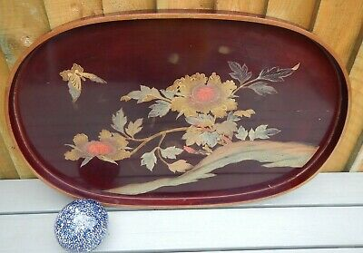 Antique Japanese Red Lacquer Ware On Wood Hand Painted Large Oval Gallery Tray