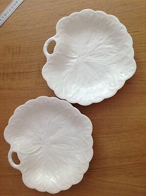 WEDGWOOD A Beautiful Pair of Antique Creamware Leaf Dishes Excellent Condition