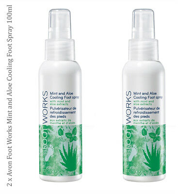 2 x Avon Foot Works Mint and Aloe Cooling Foot Spray 100ml // Footworks Feet