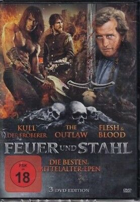 Mittelalter Box Feuer & Steel Meat and Blood Flesh Blood the Outlaw Kull 3 DVD