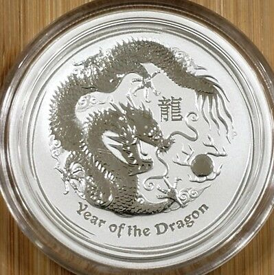 2012 Australian 1/2 oz. Lunar - Year of the Dragon Silver Coin BU with capsule