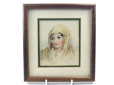 Antique 19th century watercolour painting portrait of a religious lady 1838
