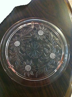 """Antique Jeannette """"Sunflower"""" Footed Cake Plate - Pink Depression Glass"""