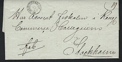 B&D: 1834 Sweden stampless cover from Mariestad to Stockholm w/ content