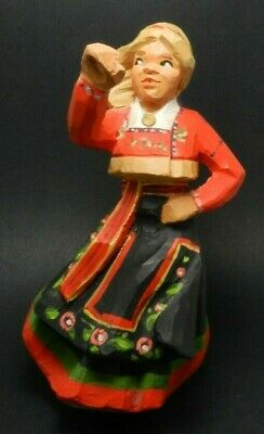 Henning Hand Carved and Painted Wood Sculpture - Woman - Made in Norway
