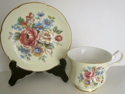 Royal Grafton AB Jones Bone China Cup & Saucer UK Pale Yellow Pink Roses Violets