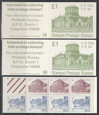 Eire 1983 £1 Architecture 3 x Complete Booklets Codes 16 30 & 35 MNH