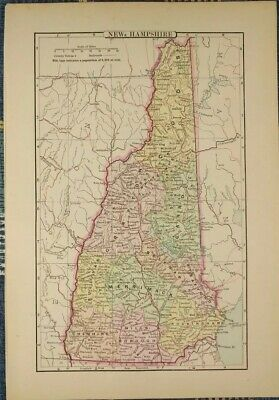 "Vintage 1896 NEW HAMPSHIRE Map 7""x10"" Old Antique Original MERRIMACK MAPZ"