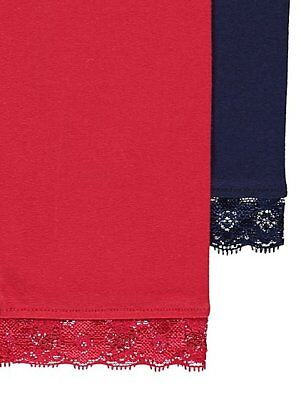 set of 2 pairs of girls leggings age 9/10 years red navy brand new