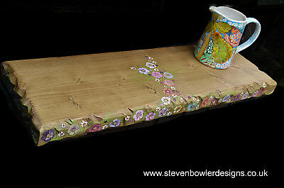 2ft Country Cottage Rustic Floating Shelf with Hand Painted Flower Design