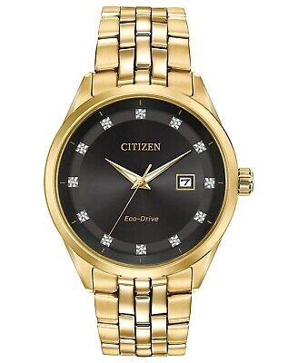 Citizen Eco-Drive Diamond Accent Gold Tone Stainless Steel Mens Watch BM7252-51G