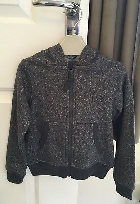 Next Girls Charcoal Grey Sparkly Zip Up Hoodie - 3 Years. NEW