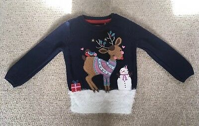Girls Tu Reindeer & Snowman Embroidered Navy Christmas Jumper - 2-3 Years. VGC