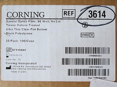 Case 100 Corning 96-Well Special Optics Clear FB Microplates TCT 360µL 3614