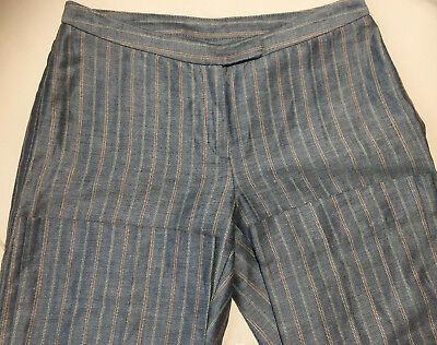 United Colors of Benetton Gray Stripe Pants OfficeTrousers Linen Blend Italy 38