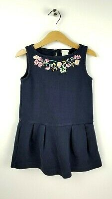 CREWCUTS Girls size 5 Navy Blue Beaded Embroidered Flower Dress