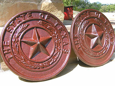 TWO State of Texas Star Seals, Cast Iron