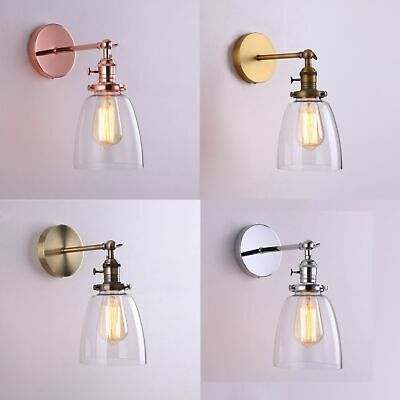 Industrial Vintage Wall Lamp Scone Antique Brass Copper Chrome Light with Switch