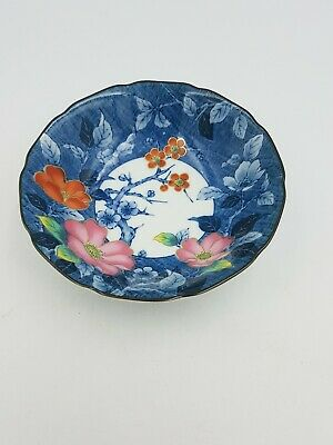 Japanese Fine Porcelain Footed Bowl Blue White Rust Red Floral Gold Detail