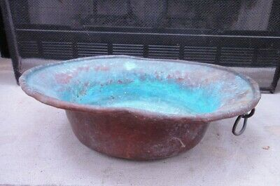 antique COLONIAL MISSION ARTS CRAFTS HAND WROUGHT HAMMERED COPPER BOWL patina