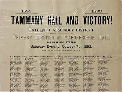 "1893 antique TAMMANY HALL and VICTORY 11x23"" election BROADSIDE maennerchor hall"