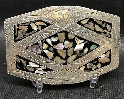 Vintage Mother Of Pearl Abalone Belt Buckle Hand Crafted