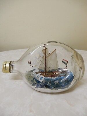 Vintage Antique Haig's Dimple Ship/boat In Bottle 20Cm Long Hand Made Perfect