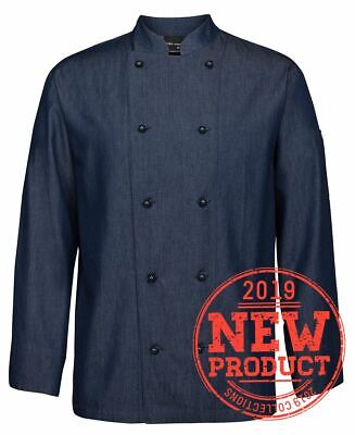 Jb's wear Denim Long Sleeve 100% Cotton Chefs Jacket Mandarin Collar LightWeight