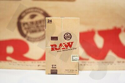 Full Box 24 Packs Of Authentic Raw Rolling Paper Classic 1 1/4 Natural Unrefined