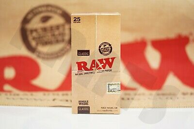 FULL BOX 25 PACKS(100 Leaves Per Pack) AUTHENTIC RAW ROLLING PAPER SINGLE WIDE