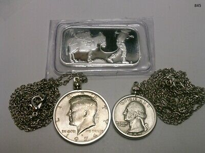 1 oz. SilverTowne Prospector and Donkey Silver Bar and 2 Coin Necklaces