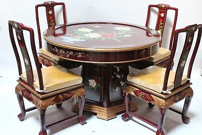 Oriental dining room set furniture dinettes burgundy lacquer
