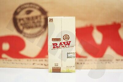 FULL BOX 25 PACKS(32 Leaves Per Pack)) AUTHENTIC RAW ROLLING PAPER ORGANIC 1 1/2
