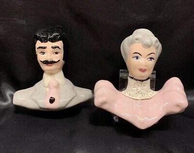 Antique Ceramic Victorian Man & Woman Wall Plaques Hand Painted Vintage