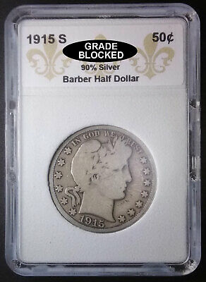 1915 S Barber Silver Half Dollar ~ VG++, Very Good! Nice Old Coin!