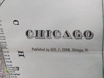 """CHICAGO ILLINOIS 1902 Vintage Atlas Map 14""""x22"""" ~ Old Antique COOK COUNTY MAPZ"""