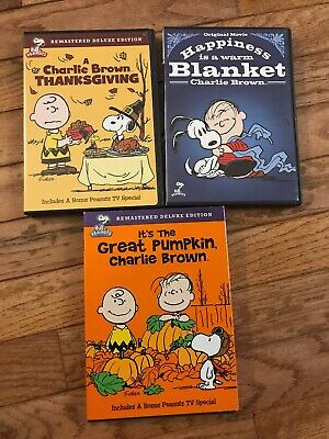 CHARLIE BROWN DVD Lot of 3 Peanuts Thanksgiving Great Pumpkin Happiness Blanket