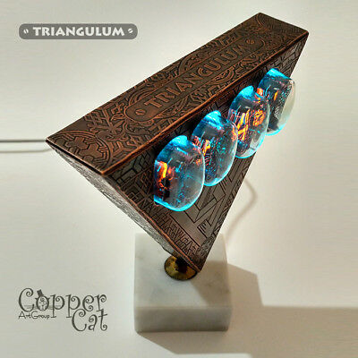 "4x IN-12 Nixie Tubes Steampunk Alarm Clock ""Triangulum"" by Copper Cat Art Group"