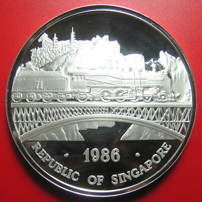 1986 SINGAPORE 5 oz SILVER PROOF LOCOMOTIVE BRIDGE TRAIN DOUBLE DRAGON MINT=650