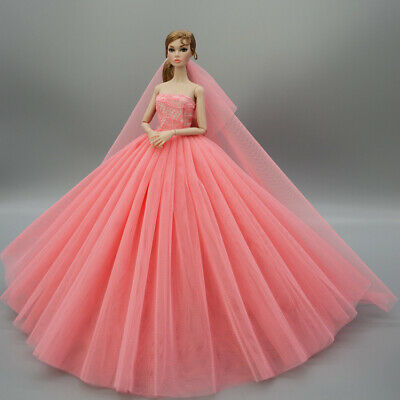 Fashion Party Princess Dress Wedding Clothes/Gown+veil For 11.5 inch Doll a13
